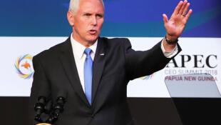 """Tại APEC CEO Summit ngày 17/11/2018, phó tổng thống Mỹ Mike Pence đả kích """"vành đai bóp nghẹt, con đường một chiều""""."""