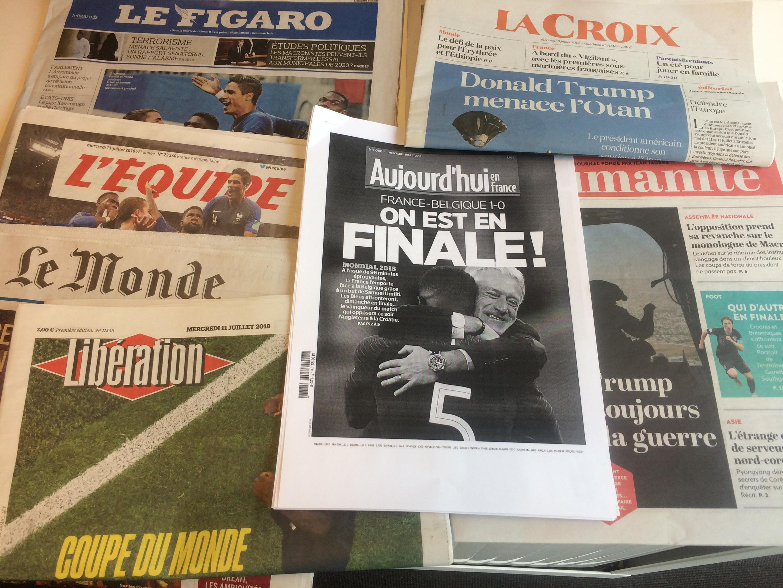 Primeiras páginas dos jornais franceses de 11 de julho de 2018