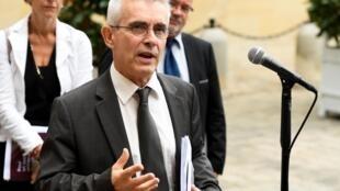 Le secrétaire général de Force ouvrière (FO), Yves Veyrier, secrétaire général de Force ouvrière à Matignon après avoir rencontré le Premier ministre, le 5 septembre 2019.