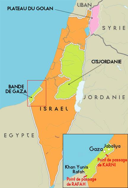 Carte des points de passage de Karni et Rafah dans la bande de Gaza.