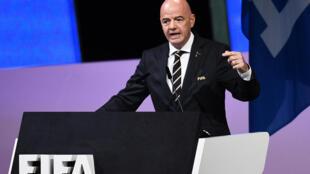 Le président de la Fédération Internationale de Football, l'Italo-suisse Gianni Infantino, lors du 69e Congrès de la FIFA, le 5 juin 2019 à la Porte de Versailles à Paris