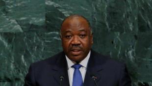 Le président gabonais Ali Bongo, lors de son allocution devant l'Assemblée générale des Nations unies, le 21 septembre 2017, à New York.