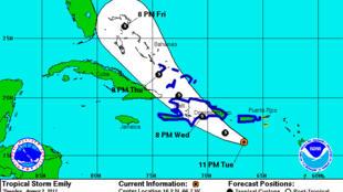 Site web National Hurricane Center : la zone touchée par la tempête tropicale Emily