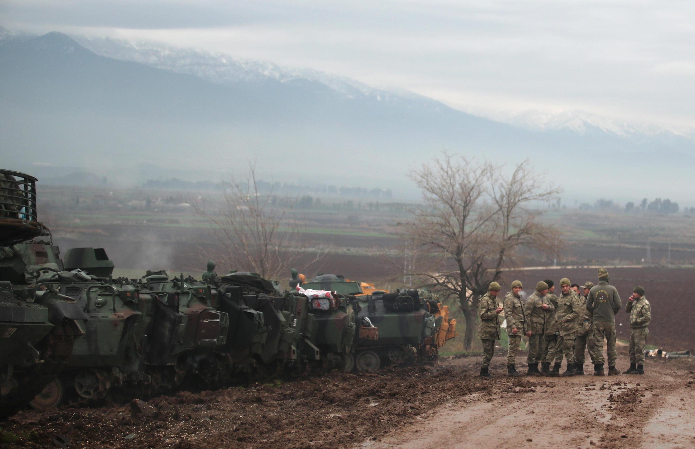 Soldados turcos en la frontera con Siria, el 24 de enero de 2018.
