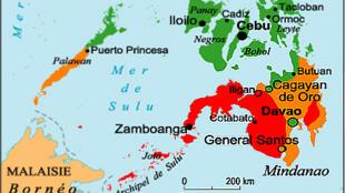 Carte de l'île de Mindanao aux Philippines.