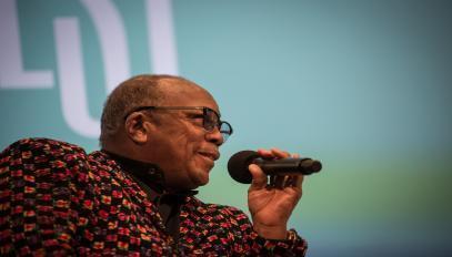 Quincy Jones répond aux questions des journalistes et festivaliers, le 13 juillet 2017 à Montreux en Suisse.