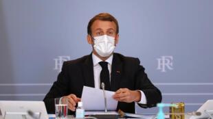 法国总统马克龙11月12日在总统府