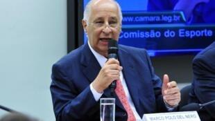 O presidente da CBF, Marco Polo Del Nero, durante audiência pública na Câmara dos Deputados sobre as denúncias de corrupção envolvendo a FIFA e a CBF.