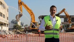 Le Premier ministre grec Kyriakos Mitsotakis sur le chantier de l'ancien aéroport d'Hellenikon, l'un des plus importants projets immobiliers de la Méditerranée, le 3 juillet 2020.