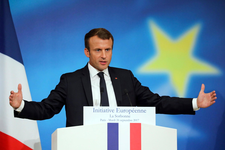 Le président français Emmanuel Macron, lors de son discours sur l'Europe prononcé à la Sorbonne, à Paris, le 26 septembre 2017.