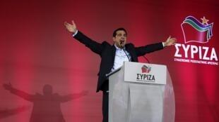 Alexis Tsipras, el líder del partido griego antiausteridad Syriza, en su último mitín en Atenas el jueves 22 de enero de 2015.
