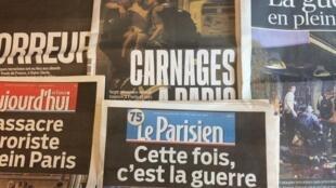 Primeira páginas dos diários franceses de 14/11/2015