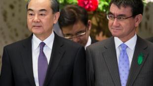 日本外相河野太郎與中國國務委員兼外交部長王毅在東京會晤 2018年4月16日