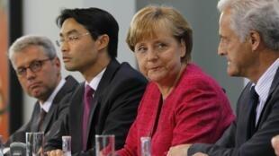 La chancelière allemande Angela Merkel durant la conférence de presse, le 30 mai 2011, pour annoncer la fin du nucléaire en Allemagne.