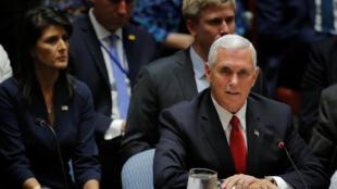 Le vice-président américain Mike Pence au Conseil de sécurité de l'ONU le 20 septembre 2017.