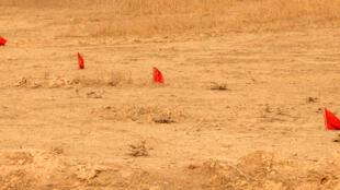 小红旗标志着被识别出的伊斯兰国武装在摩苏尔北部村庄Fadiliya埋设的地雷和爆炸物。