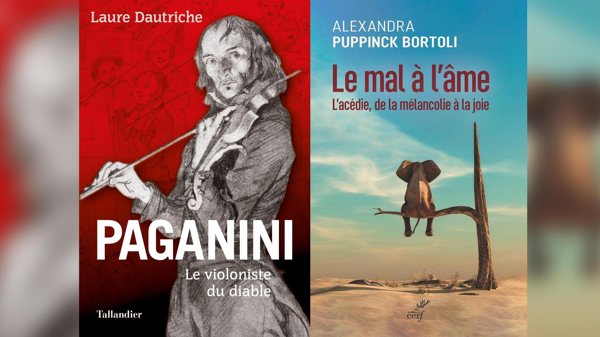 Montage - couvertures - Paganini le violoniste du diable - Laure Dautriche - Le mal à l'âme - Alexandra Puppinck Bortoli - Religions du monde