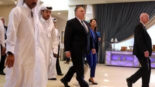 US Secretary of State Mike Pompeo ahead of the signing of an agreement between Afghanistan's Taliban delegation and the US government in Doha, Qatar, February 29, 2020.
