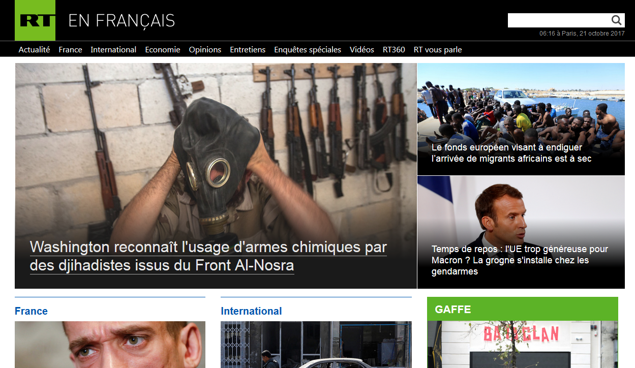 Capture d'écran du site internet de RT en France.