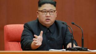 Lãnh đạo Bắc Triều Tiên Kim Jong Un phát biểu tại hội nghị Ban Chấp Hành Trung Ương Đảng. Ảnh do KCNA công bố ngày 08/10/2017