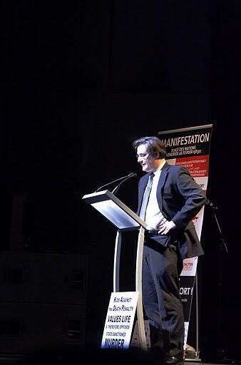 Guillaume Denoix de St Marc addresses a conference
