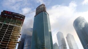 "Башня ""Око"" в Москва-Сити, в которой произошло возгарание 25/01/2013"
