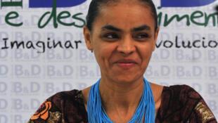 A candidata à Presidência da República pelo Partido Verde, Marina Silva, durante conferência na Universidade de Brasília no mês passado.