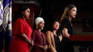 US Reps Ayanna Pressley, Ilhan Omar, Rashida Tlaib and Alexandria Ocasio-Cortez hold a news conference after Democrats moved to formally condemn President Donald Trump's attacks on the four minority congresswomen, Washington, July 15, 2019.