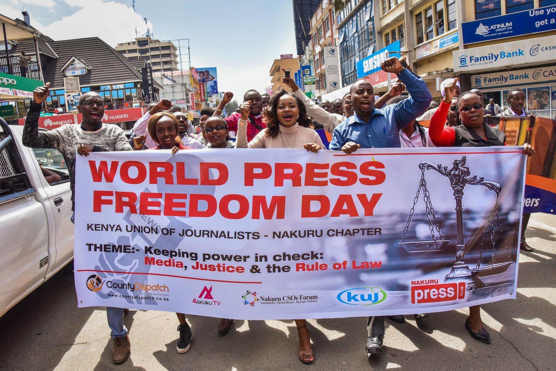 Maandamano ya wanahabari nchini Kenya wakati wa siku ya uhuru wa vyombo vya Habari duniani mwaka 2018