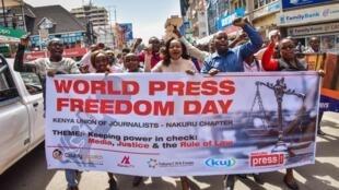 A march marking World Press Freedom Day on 3 May 2018, in Nakuru, Kenya.