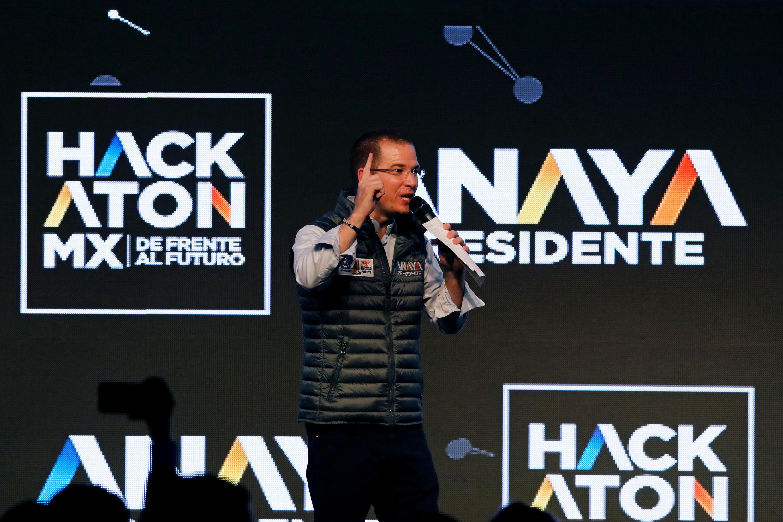 El candidato presidencial del PAN, Ricardo Anaya, en el lanzamiento de su campaña electoral en la Ciudad de México, México, el 30 de marzo de 2018.