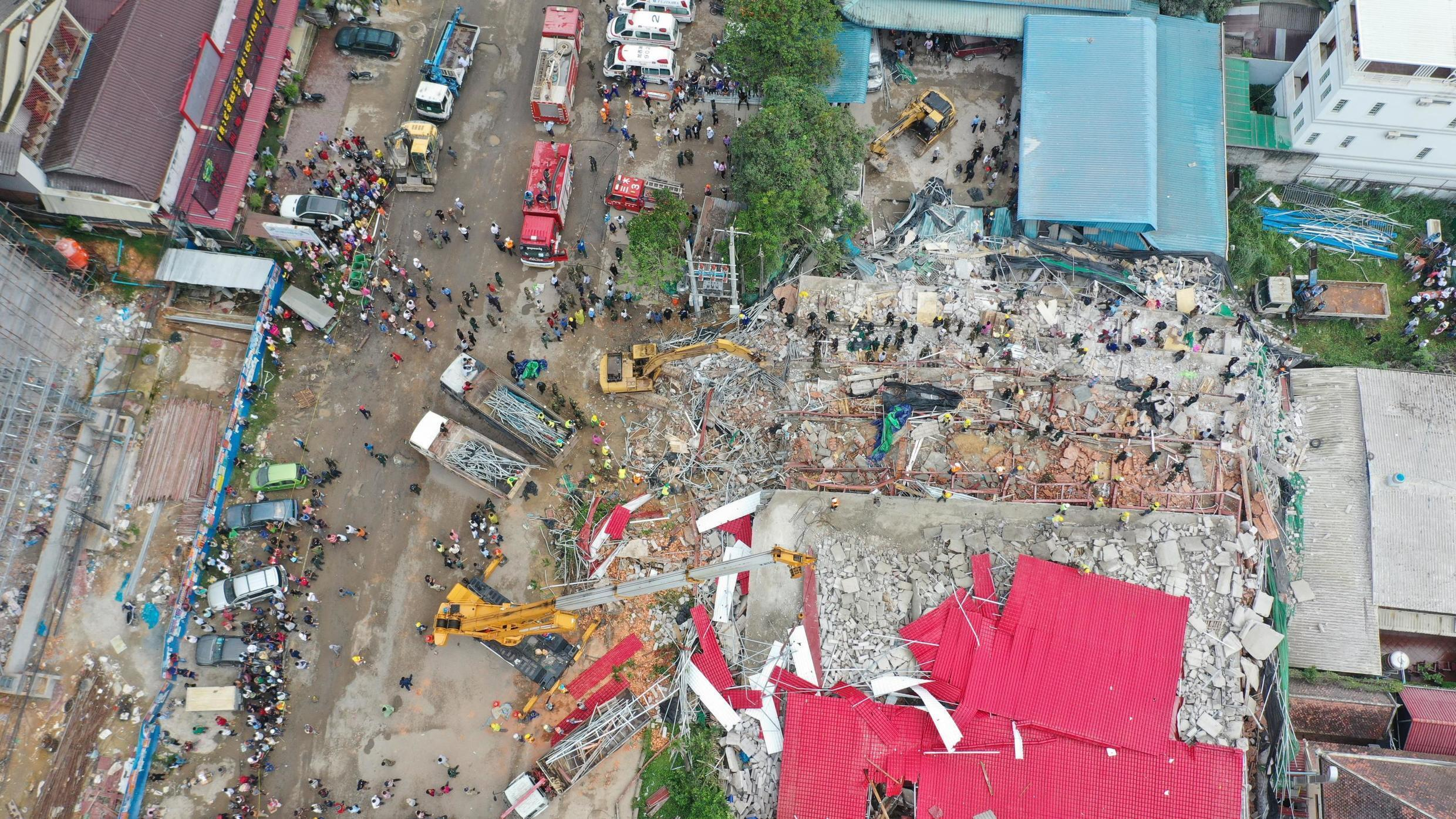 An overhead view of a collapsed Chines-funded building under construction in Sihanoukville, Cambodia that has killed at least 28 workers