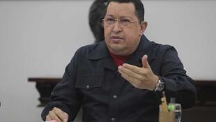 El presidente de Venezuela, Hugo Chávez, en el Palacio de Miraflores, el 22 de mayo de 2012.