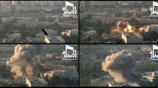Image issue d'un communiqué du Front al-Nosra, le 27 septembre 2012, montrant un quartier de Damas avant et après une attaque à la bombe.