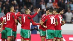 Timu ya taifa ya Morocco ikisherehekea baada ya kushinda mechi yake ya pili dhidi ya Guinea Januri 17 2018