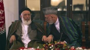 Afghanistan President Hamid Karzai (R) with Burhanuddin Rabani