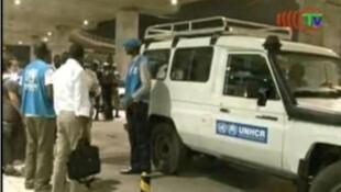 Des refugiés congolais rapatriés du Gabon pris en charge à l'aéroport de Maya Maya à Brazzaville par le HCR (capture d'écran).