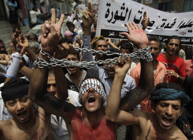 Manifestation anti-gouvernementale à Taiz, dans le sud du Yemen, le 17 juillet 2011.