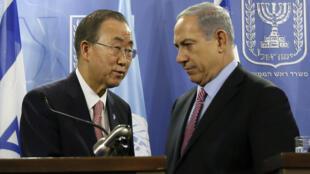O secretário-geral da ONU, Ban Ki-moon, e o primeiro-ministro israelense, Benjamin Netanyahu, em foto de arquivo.