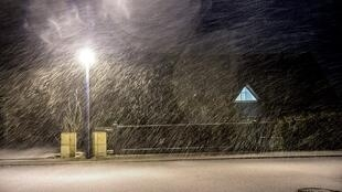 Strong winds and snow in Godewaersvelde, northern France, on Friday