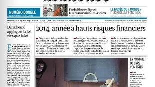 Capa da edição desta quarta-feira, dia 1° de janeiro, do jornal francês Le Monde.