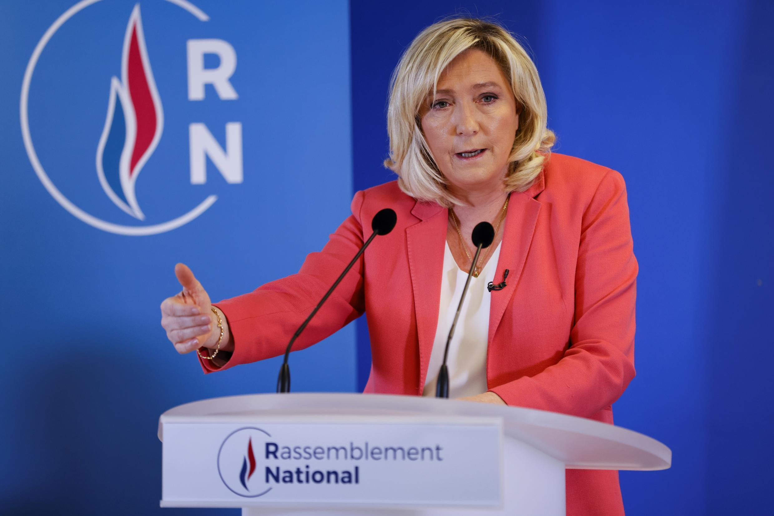 Marine Le Pen, head of far-right party Rassemblement National (RN) addresses a press conference on Friday.