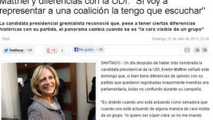 Evelyn Matthei, candidate de la droite au scrutin présidentiel de novembre prochain au Chili.
