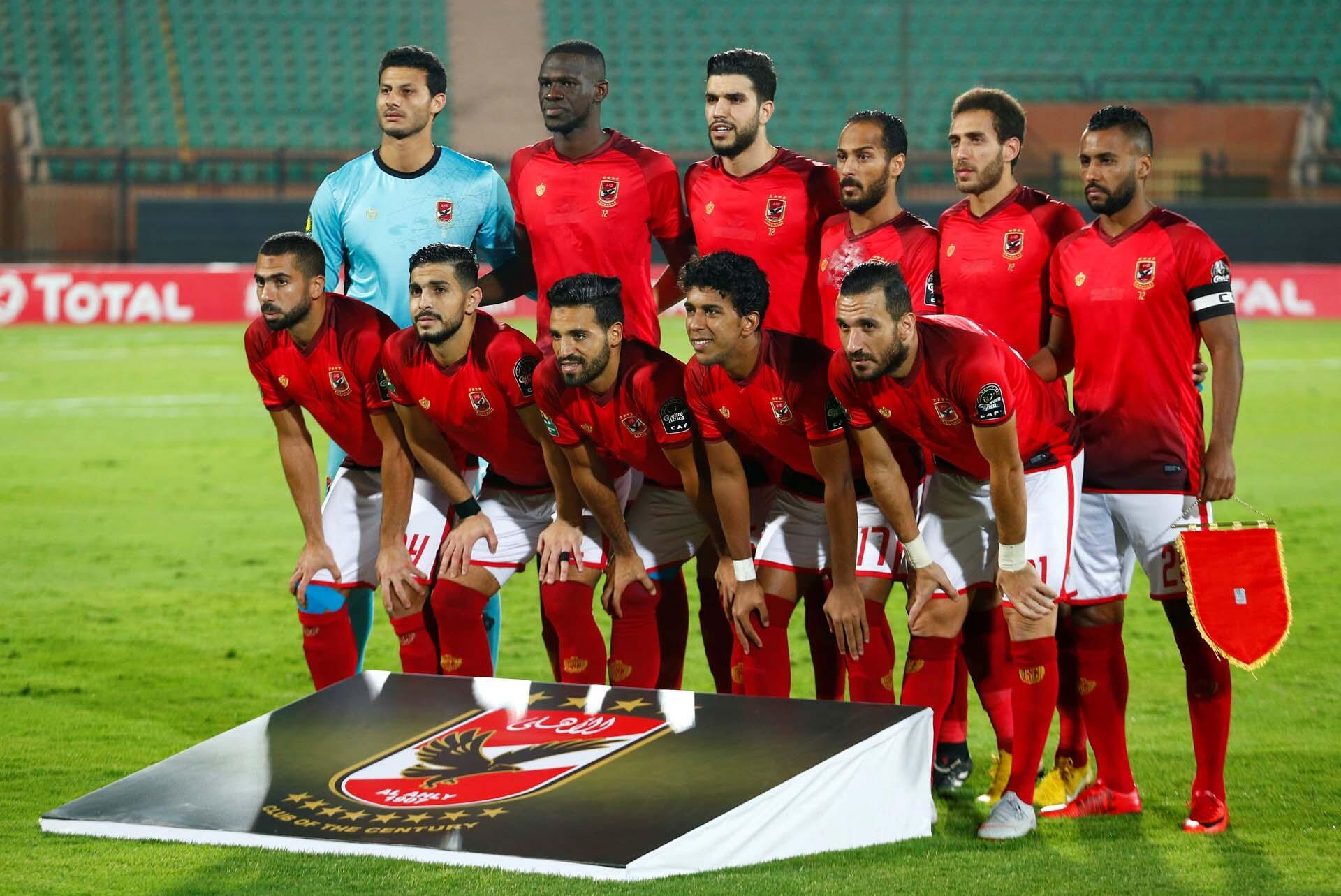 Les joueurs d'Al Ahly avant la demi-finale de la Ligue des Champions de la CAF contre l'ES de Sétif, le 2 octobre 2018.
