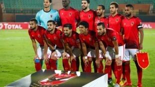 Les joueurs d'Al Ahly avant la demi-finale de la Ligue des Champions de la CAF, le 2 octobre 2018.