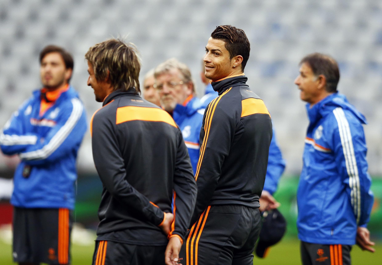 Bayern de Munique e Real Madrid jogam nesta terça-feira, às 15h45 (de Brasília). Na foto Cristiano Ronaldo durante treino em Munique.