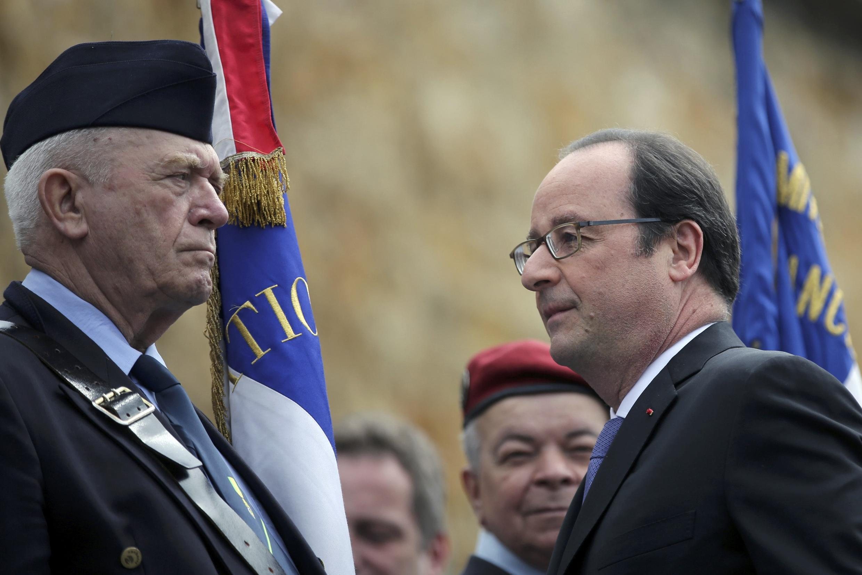 Президент Ф.Олланд на церемонии по случаю 76-й годовщины призыва де Голля к Сопротивлению. Мон Сен-Валерьен 18/06/2016