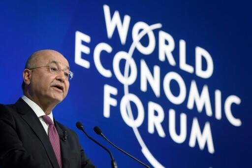 برهم صالح، رئیس جمهوری عراق در حال سخنرانی در پنجاهمین اجلاس جهانی داوس
