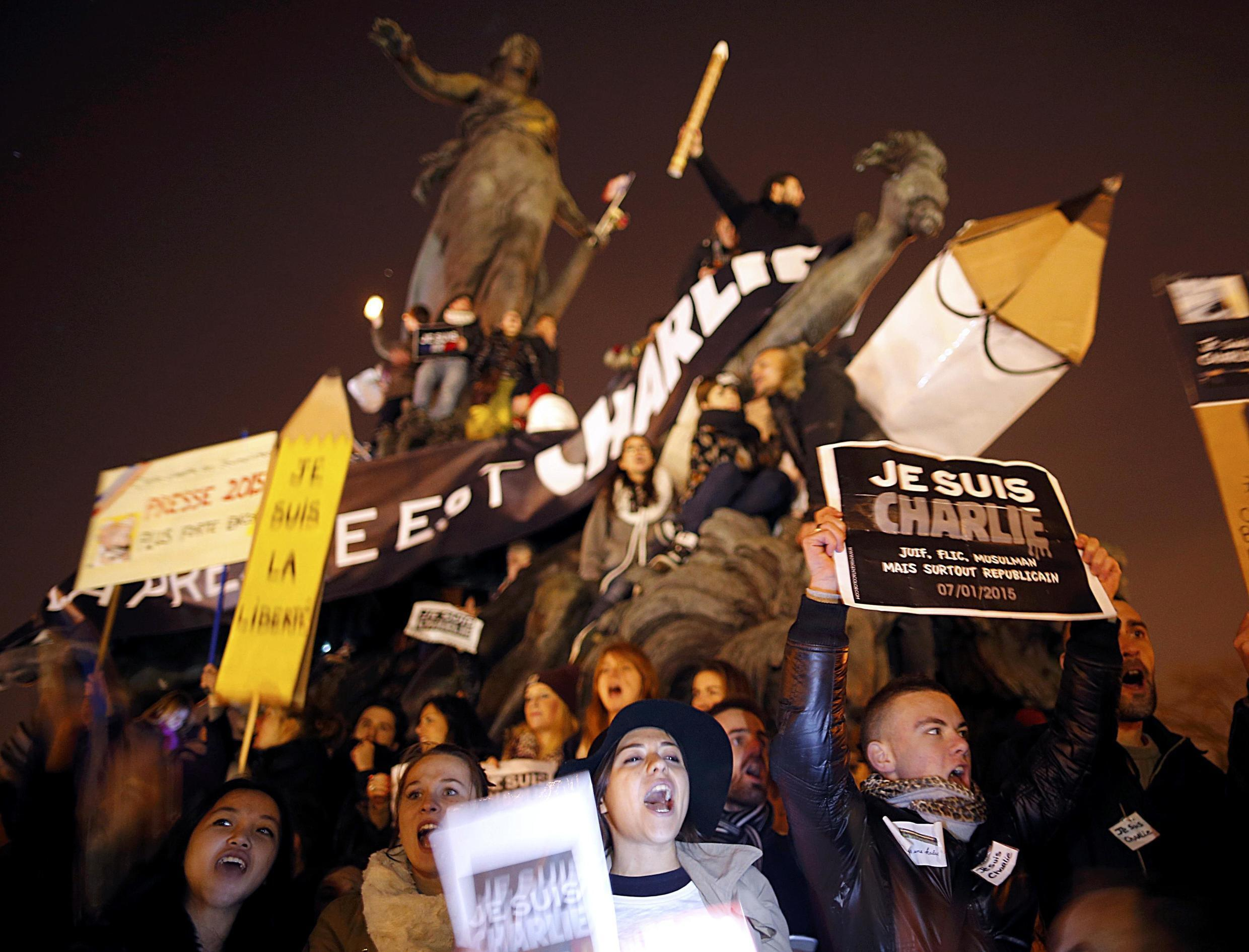 Protesters on Sunday's Charlie Hebdo solidarity march