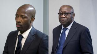 Charles Blé Goudé (g) et Laurent Gbagbo (d), à l'approche de la cour de la CPI, à La Haye (image d'illustration).